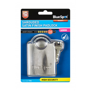BlueSpot 60mm Shrouded Satin Finish Padlock