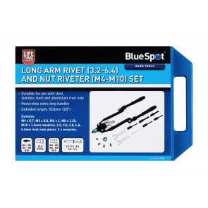 BlueSpot Long Arm Rivet (3.2-6.4) and Nut Riveter (M4-M10) Set